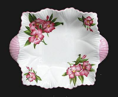 Small Pink Shelley Dainty Shape Oleander Square Dish with Shell Shaped Handles