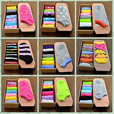 7 Pairs Women's Men's Classy Strip Cartoon Ankle Socks Cotton Crew Hosiery