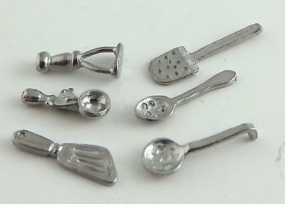 Dolls House Miniature 1:24 Scale Kitchen Accessory Set of Metal Utensils