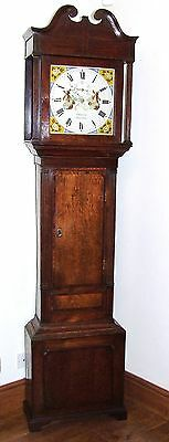 Welsh Antique 8 DAY Oak & Mahogany Grandfather Longcase Clock : ROBERTS GAERWEN