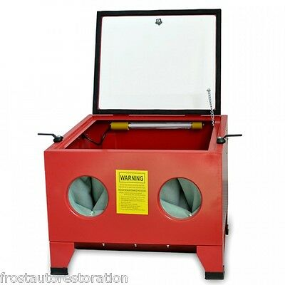 Frost Blast Cabinet 90L Bench Top Grit Blasting Polish Shot Rust Clean LED Light