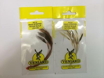 Ready Stripped Hackle Quills - Veniards - various colours available