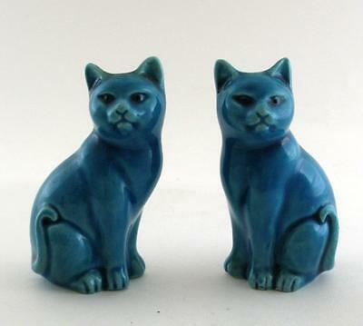 """20th C Miniature Pair of Chinese Turquoise Glazed Cats Figures 3.25"""" High"""