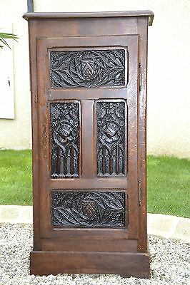 Antique Gothic Cabinet Small and Narrow, Oak with Detailed Carvings