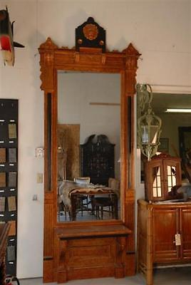"Antique Pier Mirror features Lion Emblem Atop Bench Seating 122"" Tall"