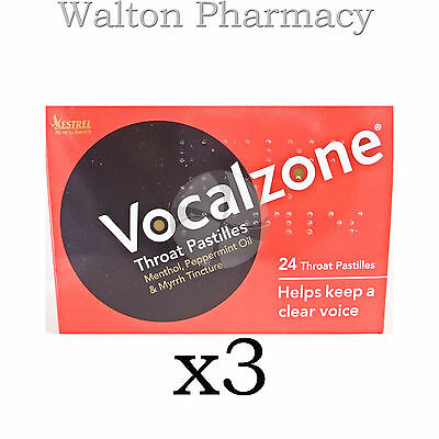 Vocalzone Vocalzones Throat Pastilles Helps keep clear Voice fast del 3 X 24