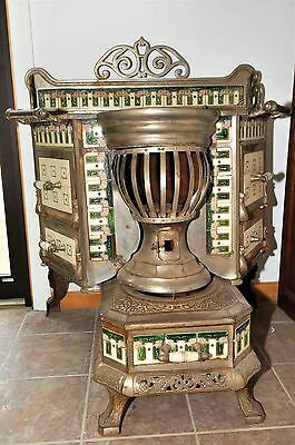 Antique French Stove with Porcelain Vintage Cooking  & Heating Collectible