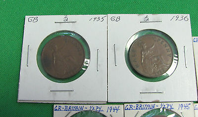 Great Britain 1935 1936 1937 1939 1944 1945 1948 1952  half penny  AU  tot UNC