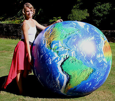 """72"""" Inflatable OUTER SPACE VIEW Earth Globe - Huge, Fun, Vinyl Beach Ball"""