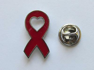 24 Enamel RED HEART Health RIBBON PINS HIV/AIDS Drug MADD Awareness FREE SH