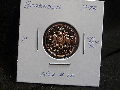 Barbados:   1973   One Cent  Coin  Proof Hc  (Unc.)    (#974)  Km # 10