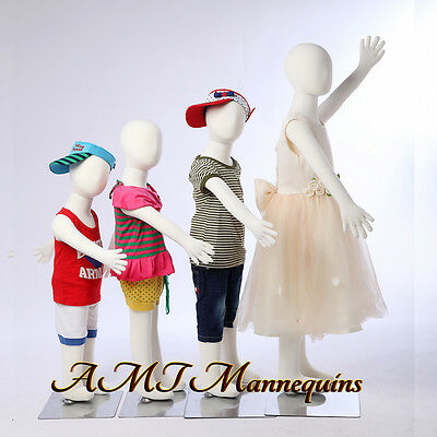 4 Child Mannequins for X'mas Christmas display,flexible pinnable,4children-R3468