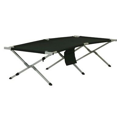 10T CB190 - Camp bed, foldable steel frame, up to 130 kg, black, 192x72x40 cm in