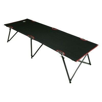 10T COT190 - Camp bed, steel pipe frame, up to 120 kg, black, 190x67x44 cm