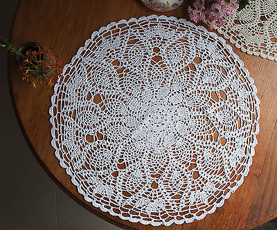 Hand Crochet Doily Placemat Tablecloth Pineapple Lace Round 60CM White/Ecru FP02