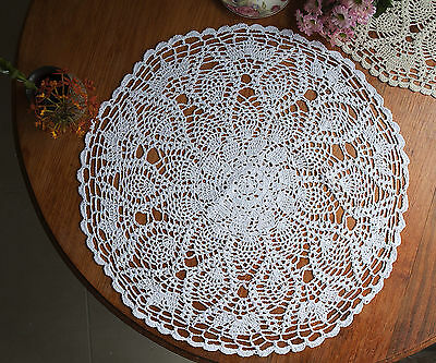Hand Crochet Lace Pineapple Doily Placemat Table Cloth Round 60CM White/Ecru