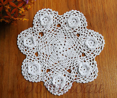 Pure Cotton Yarn 3D Floral Hand Crochet Lace Doily Round 24CM White