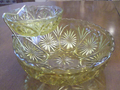 Vintage Serving Bowl 1970's Chips Dip Amber Glass Anchor Hocking Star And Cameo