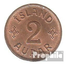 Iceland km-number. : 6 1938 extremely fine Bronze extremely fine 1938 2 Aurar Ge