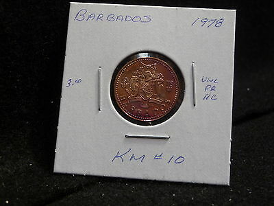 Barbados:   1978   One Cent  Coin  Proof Hc  (Unc.)    (#975)  Km # 10