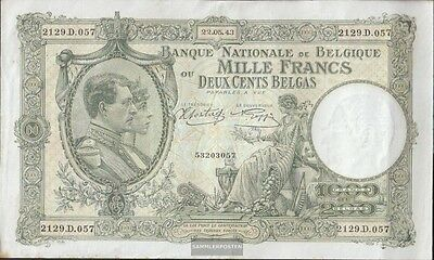 Belgium Pick-number: 110 (1943) used (III) 1943 1.000 francs- 200 Belgas