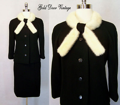 Vintage 50s Couture IRA RENTNER New York White MINK Fur Trim Cocktail Suit