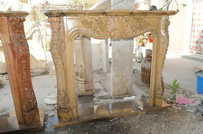 Hand Carved Marble Fireplace Mantel, French Design w/ Floral and Shell Carvings
