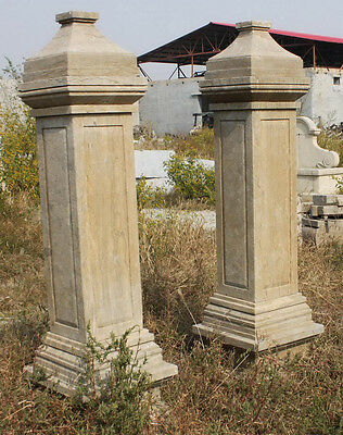 Marble Estate Driveway Entry Columns, Hand Carved Tall European Style #1559