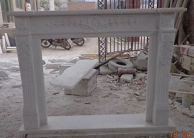 Marble Fireplace Mantel features Leaves and Branches, White Marble