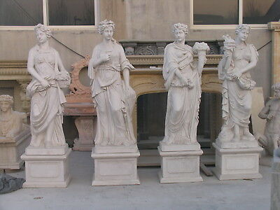 White Marble Garden Statues of the Four Seasons, 78 Tall, Life Size Set