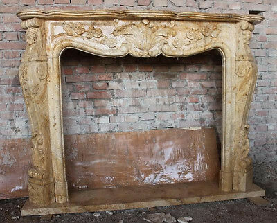 Marble Fireplace Mantel in Golden Travertine Stunning Hand Carved #1094