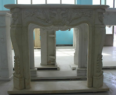 Marble Fireplace Mantel in Egyptian Beige French Design Carved  sku#1088
