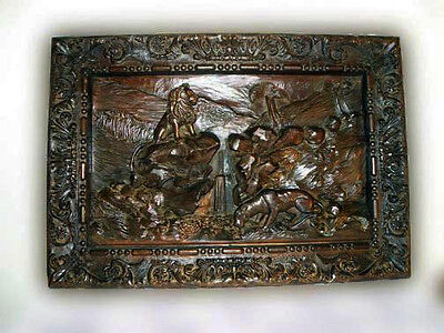 Antique Carved Wood Panel 3 Dimensional  with Lion Carvings ,Large 19th C,French