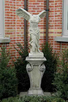 """Garden Concrete Statue of Winged Victory of Somotrace on Pedestal,60"""" Tall"""