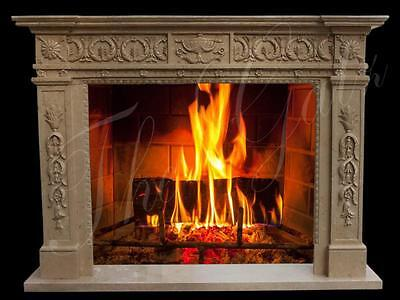 Greek Inspired Hand Carved Marble Fireplace Mantel with Intricate Design