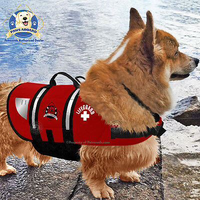 PAWS ABOARD Dog Life Jacket Pool Vest Lifeguard Red Neoprene MEDIUM 20-50 lb NEW