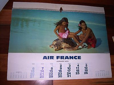 Large 1974 AIR FRANCE 12 Month Calendar
