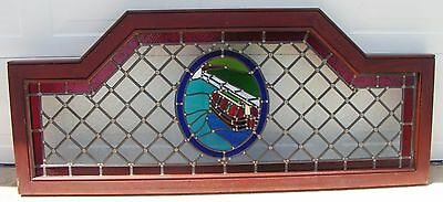"""2 Large Stained Glass Windows Boat River 30"""" x 70"""" Pick Up Only"""