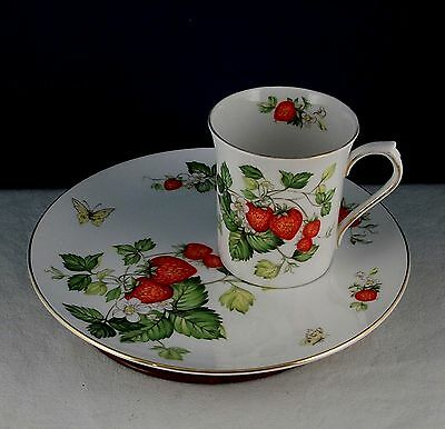 Queens Rosina Fine China Virginia Strawberry Buffet Snack Plate Cup Botanical