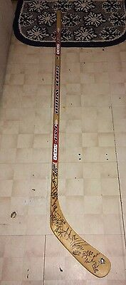 2016 Pittsburgh Penguins Team Signed Logo Hockey Stick Proof Coa Stanley Cup