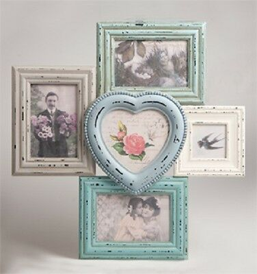 LARGE MULTI WOODEN Heart Photo frame 5 Picture Delilah range by Sass ...