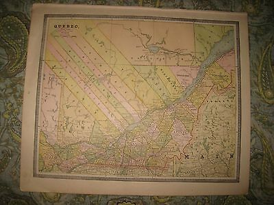 Superb Antique 1885 Ontario Quebec Canada Map Railroad Detailed Fine Nr