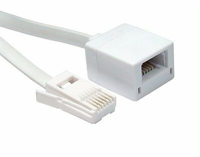 White FLAT 10m BT Extension Cable - 6 Wire Cable Male  32 Foot
