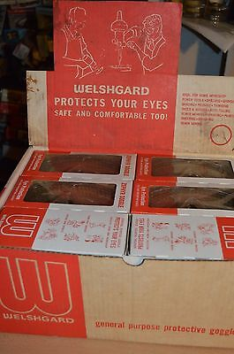 12 Pairs of Vintage Welshgard Zephyr Safety Goggles NEW & IN ORIGINAL DISPLAY!