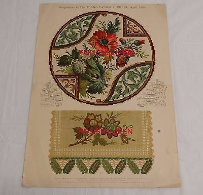 ANTIQUE 1889 BERLIN WORK NEEDLEPOINT TAPESTRY PATTERN for STOOL EMBROIDERY