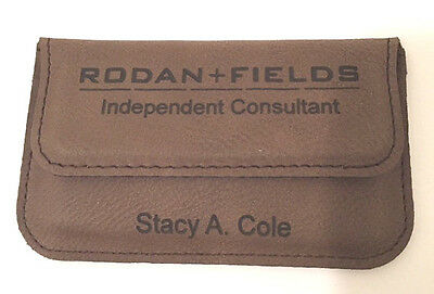 Business Card Case Leatherette Holder Soft Sided Dark Brown Personalized Free