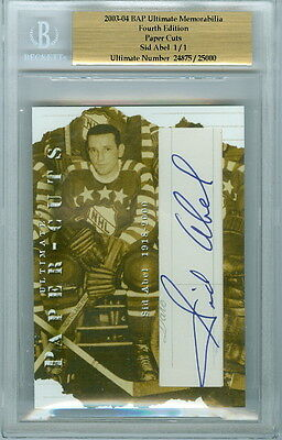 2003-04 Bap Sid Abel 1/1 Auto Hof Paper Cuts Ultimate 4Th Edition Red Wings