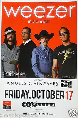 WEEZER / ANGELS & AIRWAVES 2008 SAN DIEGO CONCERT TOUR POSTER - Alt Rock Music