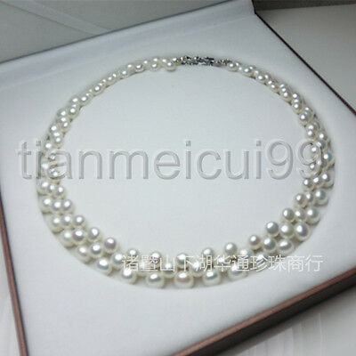 New women 3 row white cultured pearl Akoya necklace AAA