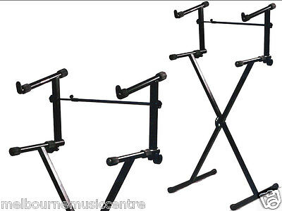 DUAL KEYBOARD STAND X Frame Holds 2 Keyboards *Perfect For Live/Studio*  NEW!!